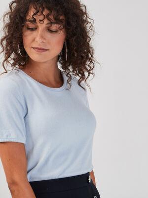 T shirt manches courtes bleu pastel femme
