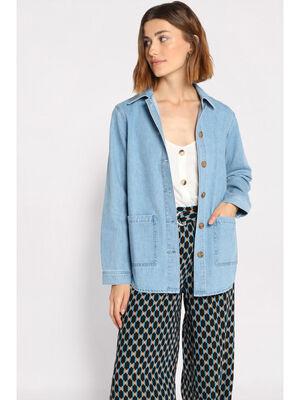 Veste droite en jean a poches denim double stone femme