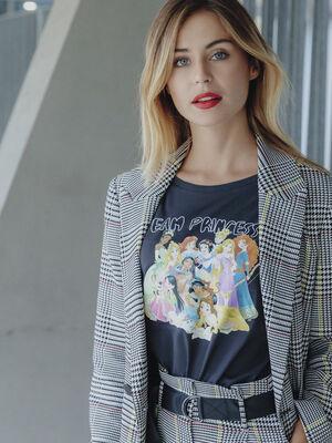 T shirt manches courtes Disney gris fonce femme