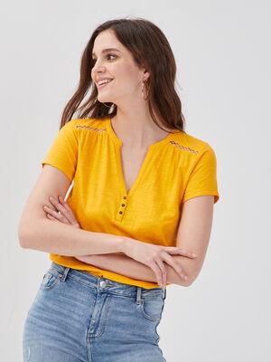 T shirt manches courtes ajoure jaune femme