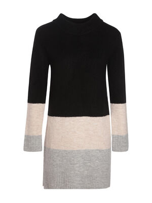 Robe tricot col montant noir femme