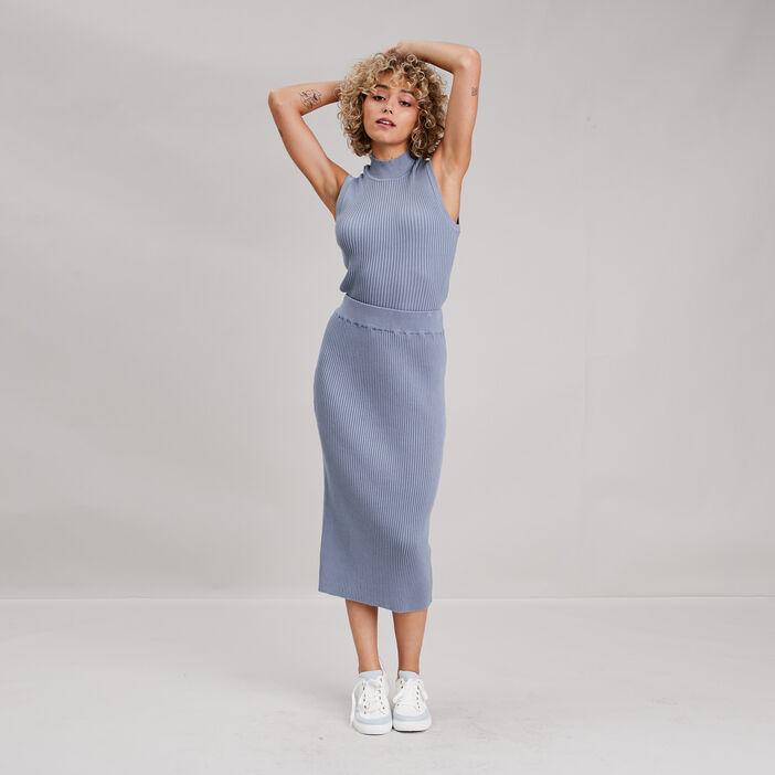 Pull débardeur côtelé bleu clair femme