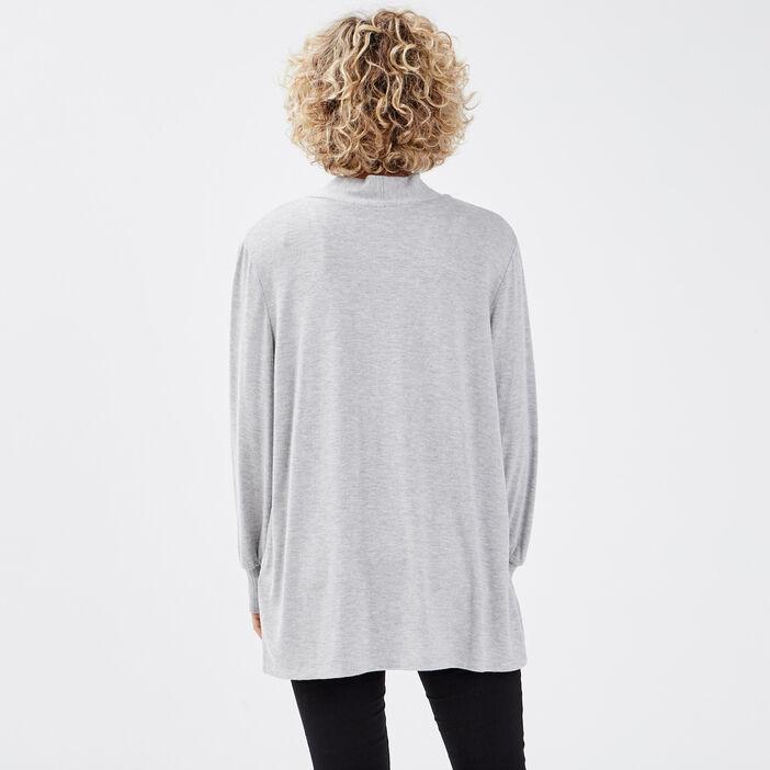 Gilet manches longues gris clair femme