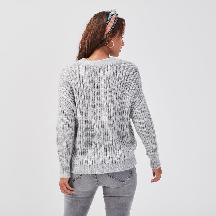 Gilet boutonné ajouré gris clair femme