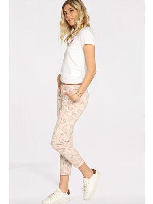 Pantalon chino avec ceinture rose clair femme