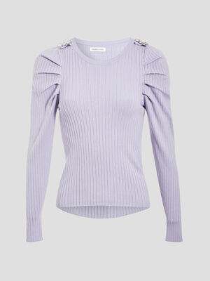 Pull manches froncees mauve femme