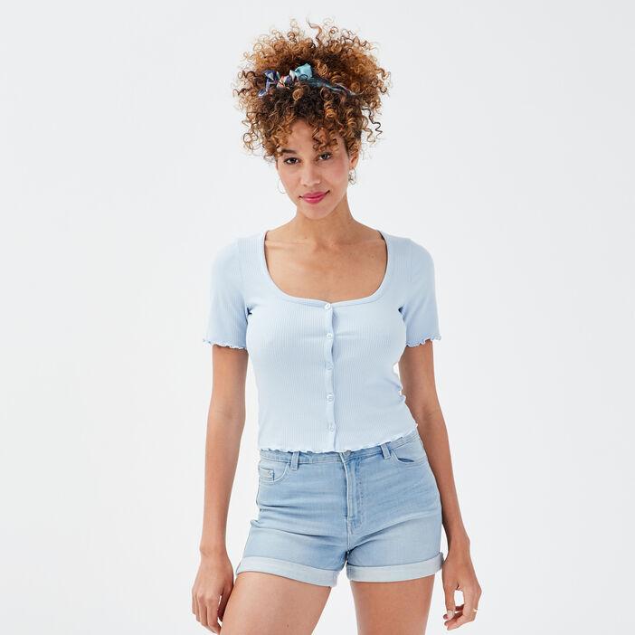 Gilet boutonné manches courtes bleu pastel femme