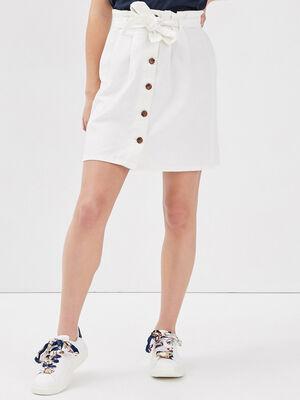 Jupe paperbag boutonnee blanc femme