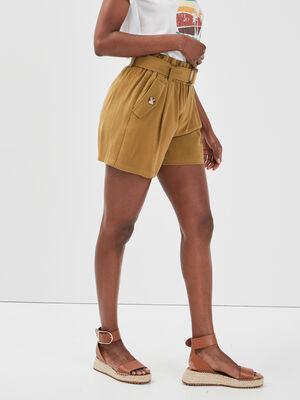 Short ceinture lyocell vert olive femme