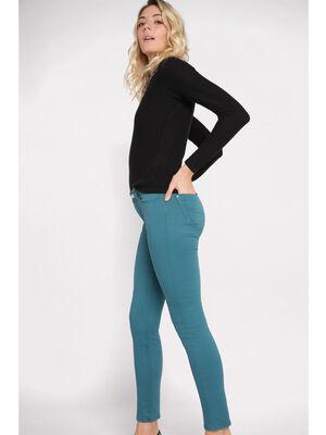Pantalon slim 5 poches vert canard femme