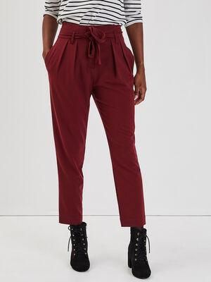 Pantalon paperbag bordeaux femme