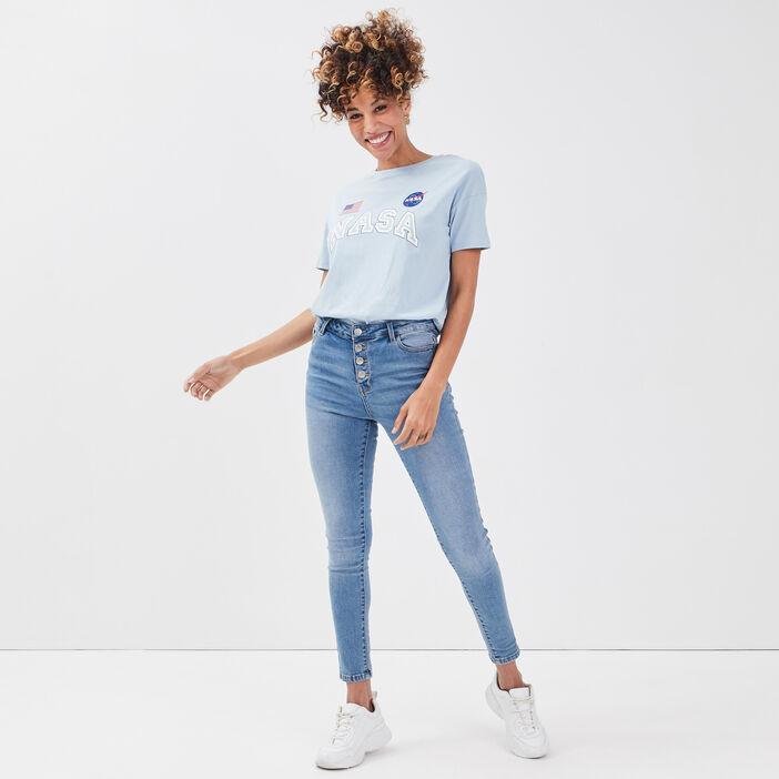 T-shirt manches courtes NASA bleu pastel femme