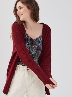 Gilet mi long tricotage ajoure bordeaux femme