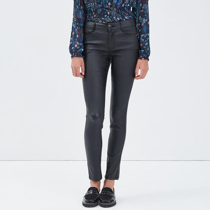 Jeans slim taille haute denim noir enduit femme