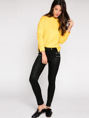 Pantalon skinny enduit noir femme