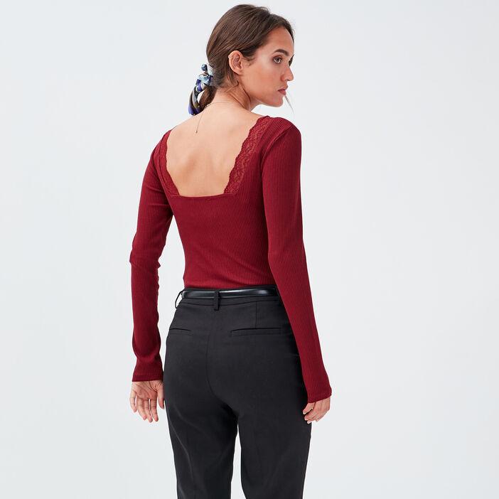 Body manches longues bordeaux femme