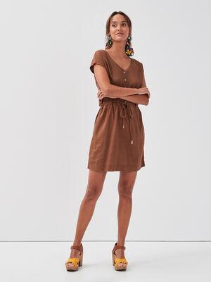 Robe droite taille ceinturee marron femme