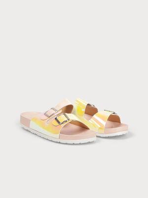 Sandales plagettes a boucles rose clair femme