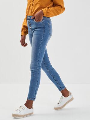 Jeans taille haute boutonne denim double stone femme