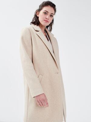 Manteau droit boutonne sable femme