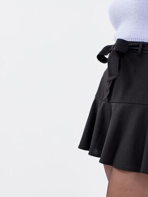 Jupe short evasee noir femme