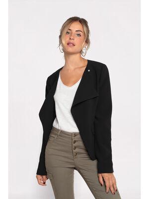 Veste blazer cintree 2 poches noir femme