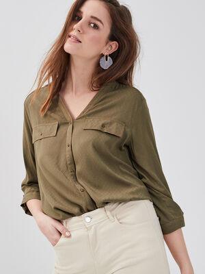 Chemise manches 34 col en V vert kaki femme