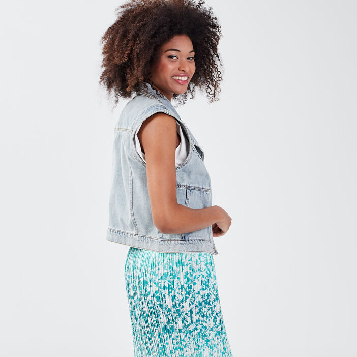 Veste droite en jean denim bleach femme