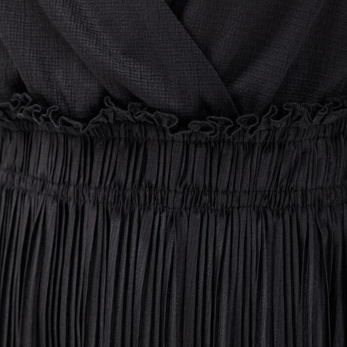 Robe longue évasée plissée noir femme
