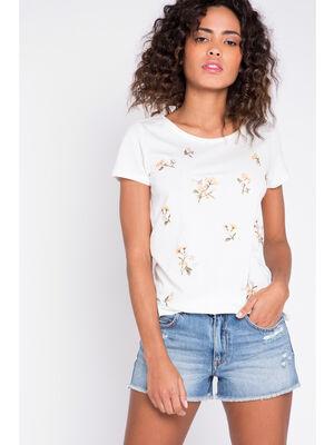 T shirt brode fleurs ecru femme