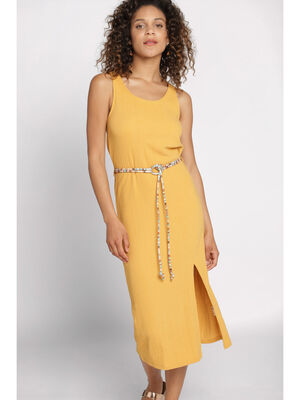 Robe longue droite jaune or femme