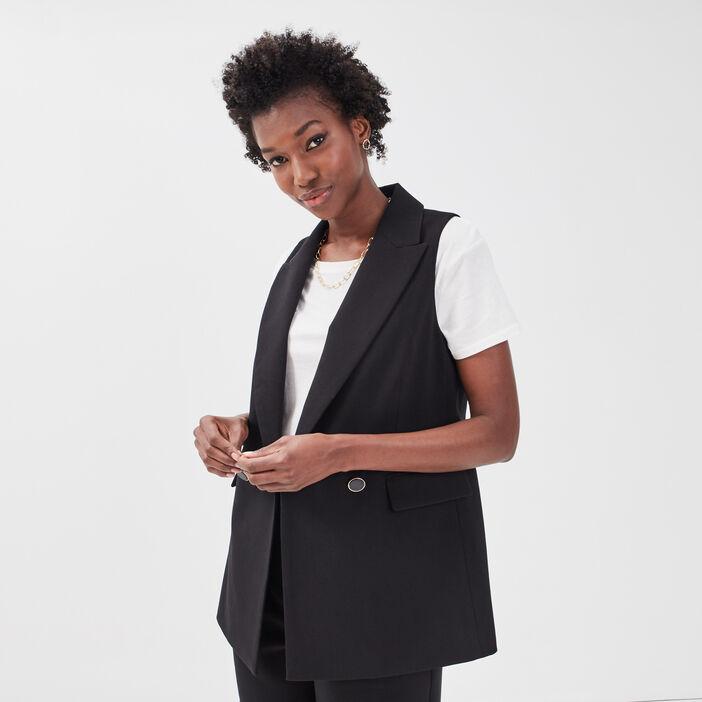 Veste esprit blazer droite noir femme