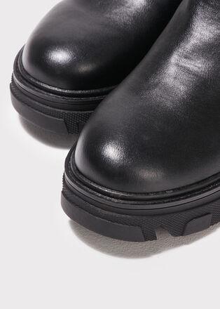 Bottines chelsea crantees noir femme
