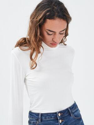 T shirt uni a manches longues ecru femme