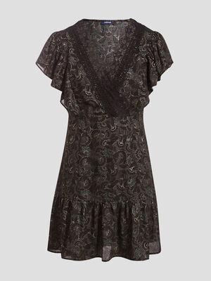 Robe evasee avec dentelle noir femme