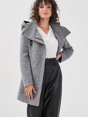 Manteau cintre asymetrique gris fonce femme