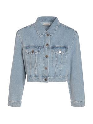 Veste cintree courte en jean denim snow bleu femme