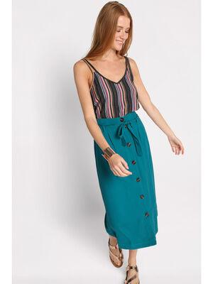 Jupe evasee taille standard vert emeraude femme