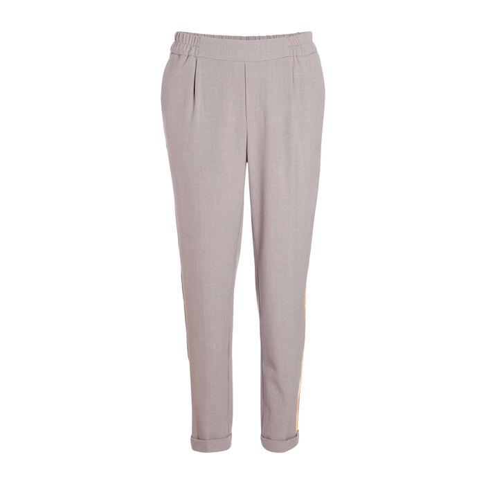 Pantalon carotte à bandes gris clair femme | Vib's