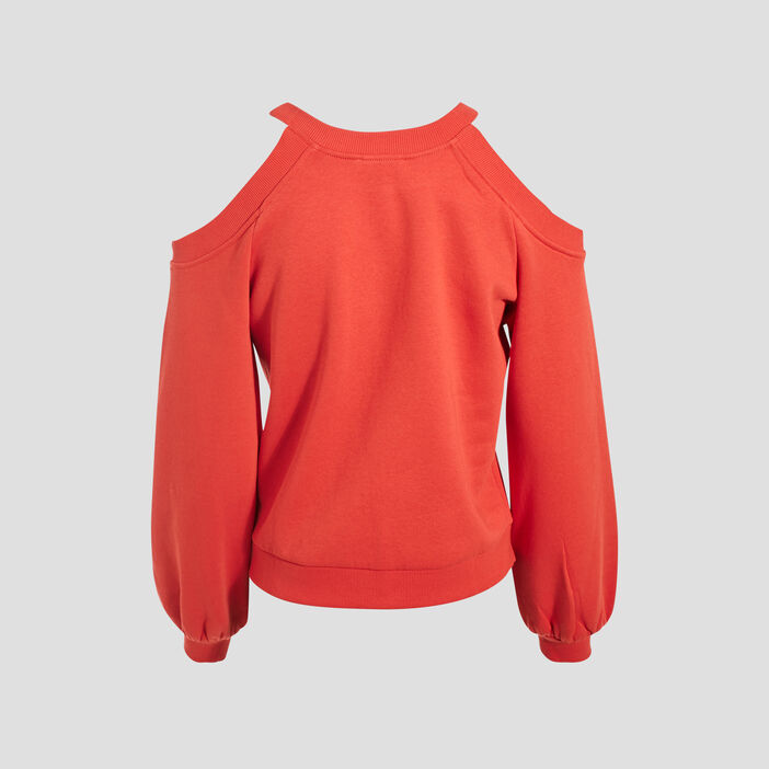 Sweat avec épaules dénudées rouge fluo femme