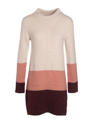 Robe tricot col montant violet fonce femme
