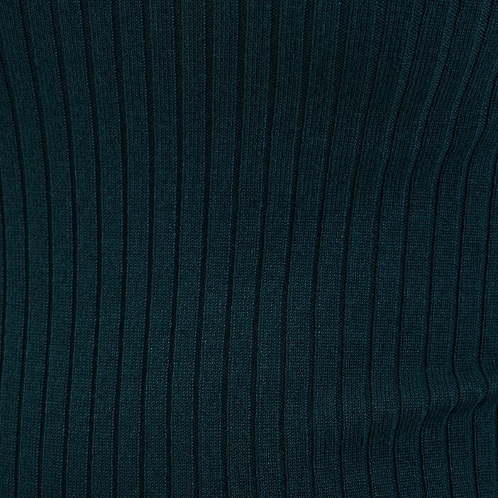 Pull col roulé côtelé vert foncé femme