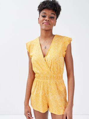 Combishort taille elastiquee orange femme