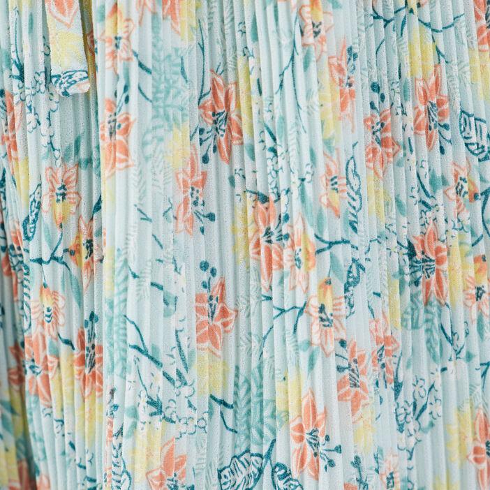 Short droit plissé bleu clair femme