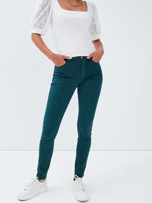 Jeans skinny push up vert fonce femme