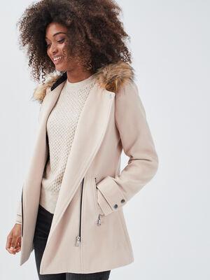 Manteau droit avec capuche sable femme