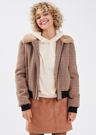 Manteau droit zippe beige femme