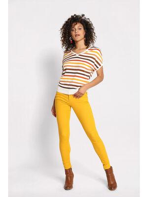 Pantalon skinny push up jaune moutarde femme