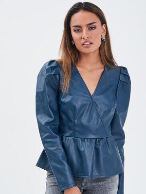 Blouse en similicuir bleu petrole femme