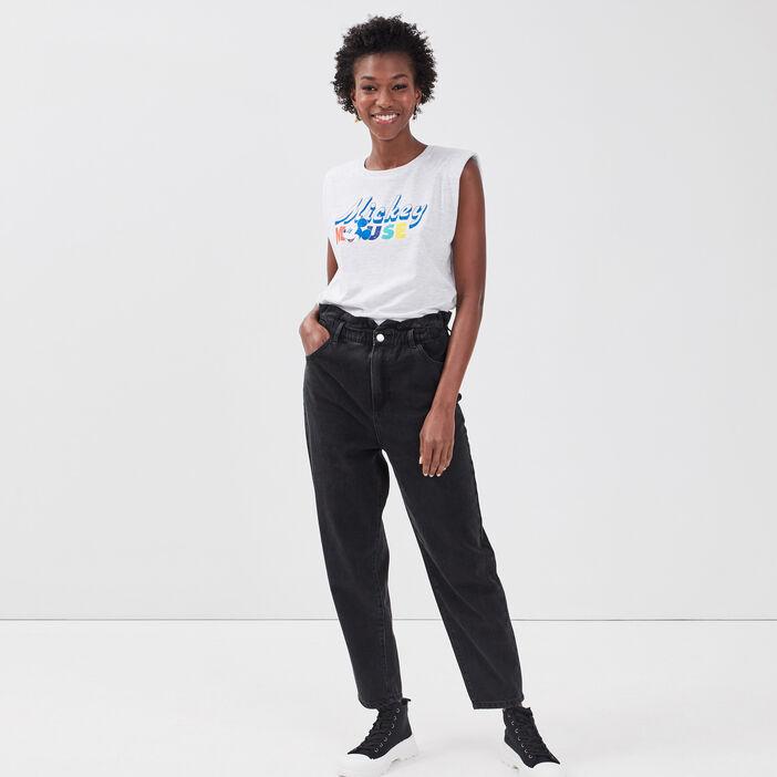 T-shirt manches courtes Mickey gris clair femme